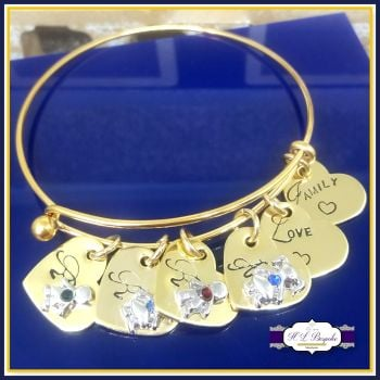 Personalised Gold Birthstone Bangle Adjustable - Mothers Day Gift - Birthstone Jewellery - Personalised Birthstone Bracelet - New Mum Gift