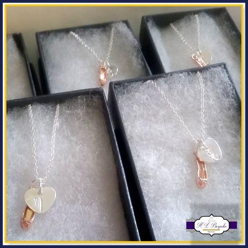 Personalised Ballet Dancer Necklace - Silver & Rose Gold Ballet Dancer Neck