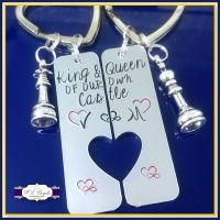 Pair King and Queen Keyrings - Personalised Chess Keyrings - Couple's Keyrings - Wedding Morning Gift - Chess King and Queen - Castle