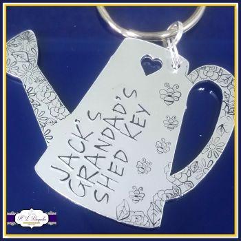 Personalised Father's Day For Grandad Gift - Grandma Keyring - Shed Key Keyring - Shed Keychain - Gardener Keyring - Gardening Gift - Flower