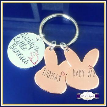 Personalised Mummy's Bunnies Keyring - Bunny Keychain for Mummy - Rabbit Gift - Mummy Bunny Gift - Mummy & Baby Gift - Rabbit Keyring