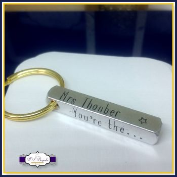 Personalised Teacher Keyring Gift - Four Sided Keychain - Childminder Gift - End Of Year Gift - Teacher Gift - Thank You Teacher - Coach
