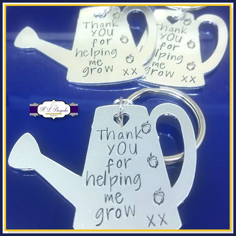 Thank You For Helping Me Grow Keyring - Personalised Teacher Keyring Gift -