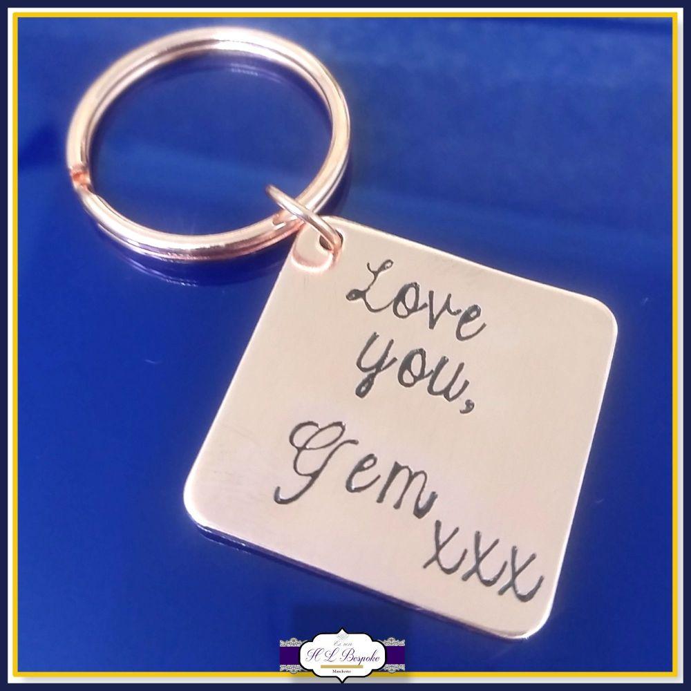 7th Wedding Anniversary Copper Keyring - Personalised 7th Wedding Anniversa