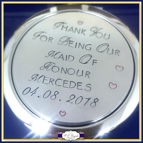 Personalised Bridesmaid Compact Mirror Maid Of Honour Gift Mother Bride Wedding Gifts For S