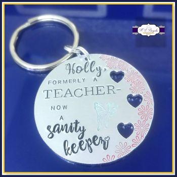 Teacher Leaving Gift - Former Teacher Keyring - Formerly A Teacher - Sanity Keeper - Thank You Teacher Keychain - For Teachers Retirement