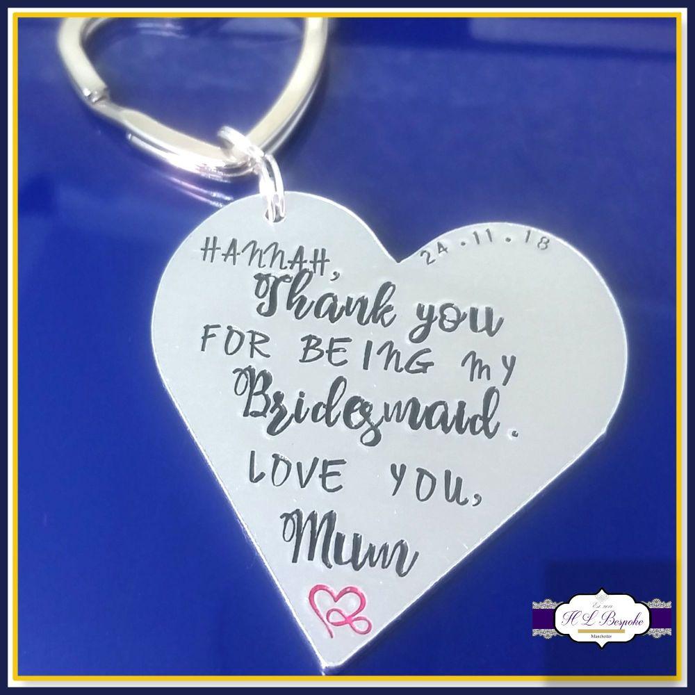 Personalised Bridesmaid Gift - Bridesmaid Godmother Keyring - Bridesmaid Ke