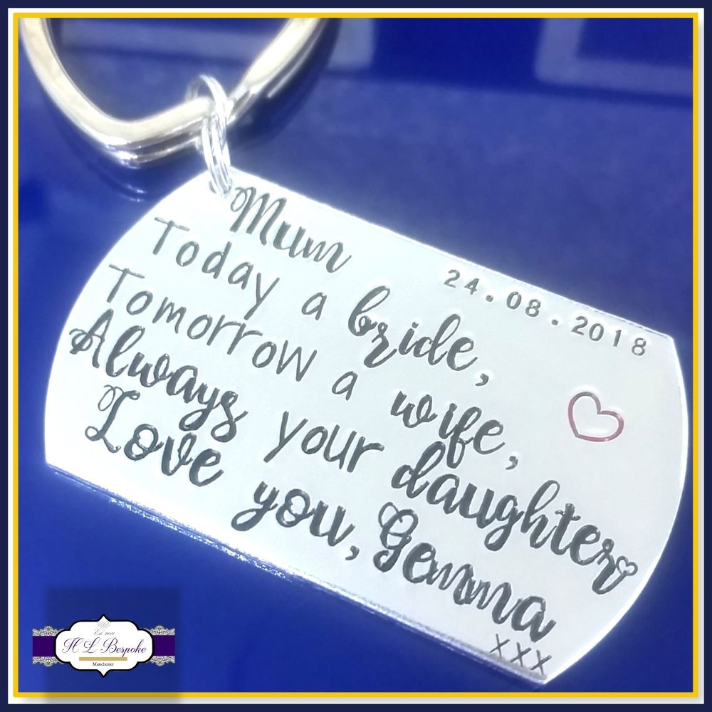 Today A Bride Keyring - Personalised Wedding Keyring W/ Date & Name - Fathe