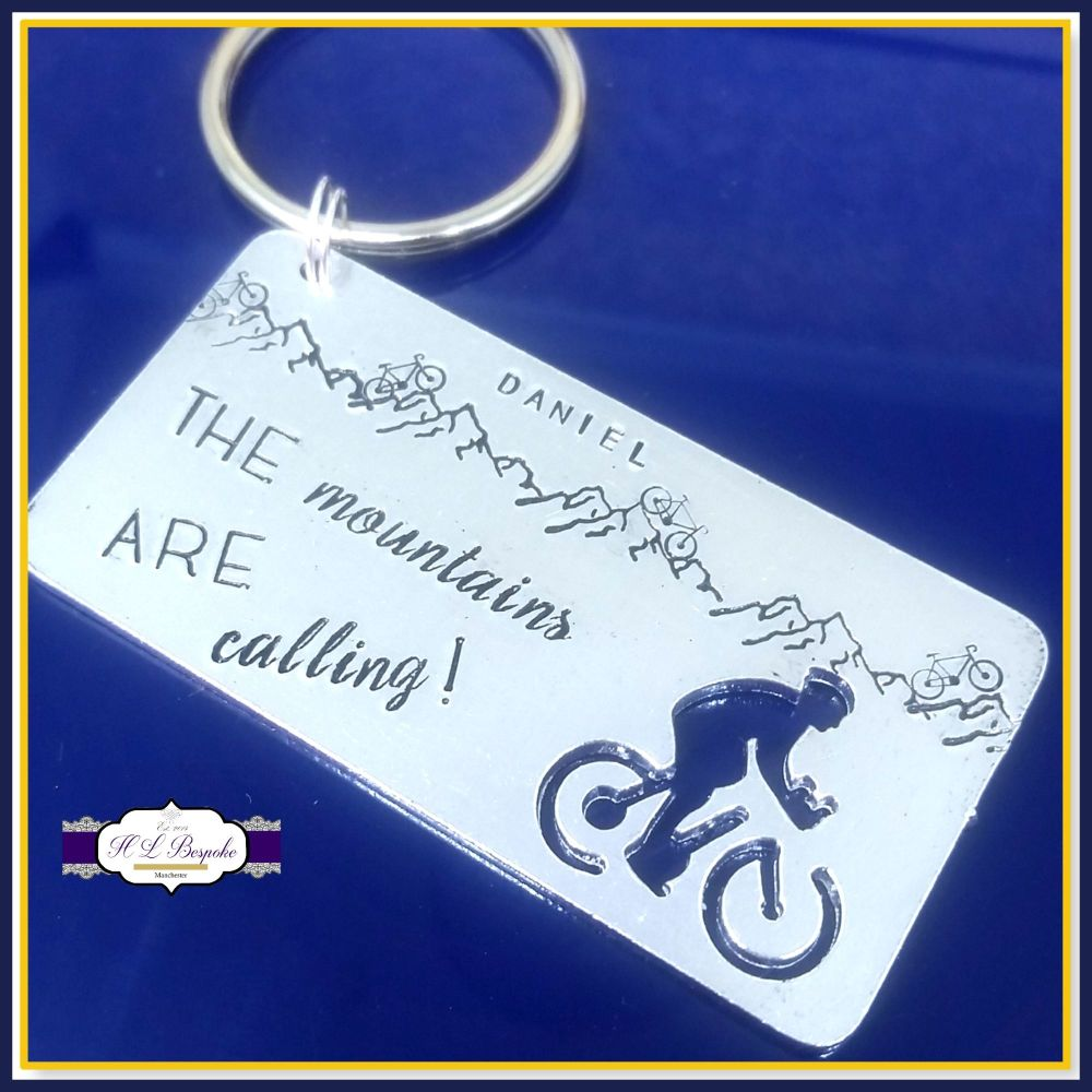 Personalised Cycling Gift - Cyclist Keyring - Mountain Biker Gift - The Mou