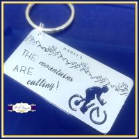 Personalised Cycling Gift - Cyclist Keyring - Mountain Biker Gift - The Mountains Are Calling Keyring - Cyclist Keychain - Cyclist Keychain