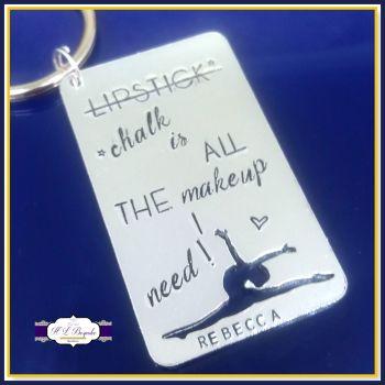 Personalised Gymnast Gift - Gymnastics Keyring - Gymnastics Gift - Chalk Is All The Makeup I Need - Funny Gymnast Gift Keychain - Gym Gift