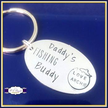 Personalised Daddy's Fishing Buddy Keyring - Fishing Daddy Gift - Daddys Fishing Buddy - Father's Day Keyring - Fishing Lover - Fisherman