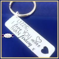 Personalised Funny Valentines Keyring - Love You More Than Fishing Gift - Fishing Girlfriend Gift - Humorous Valentines Gift - Fishing Wife