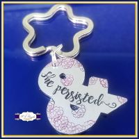 And She Persisted Keyring - She Persisted Gift - Ampersand Keyring - Nevertheless She Persisted Quote - Persistance Gift - Just Because Gift