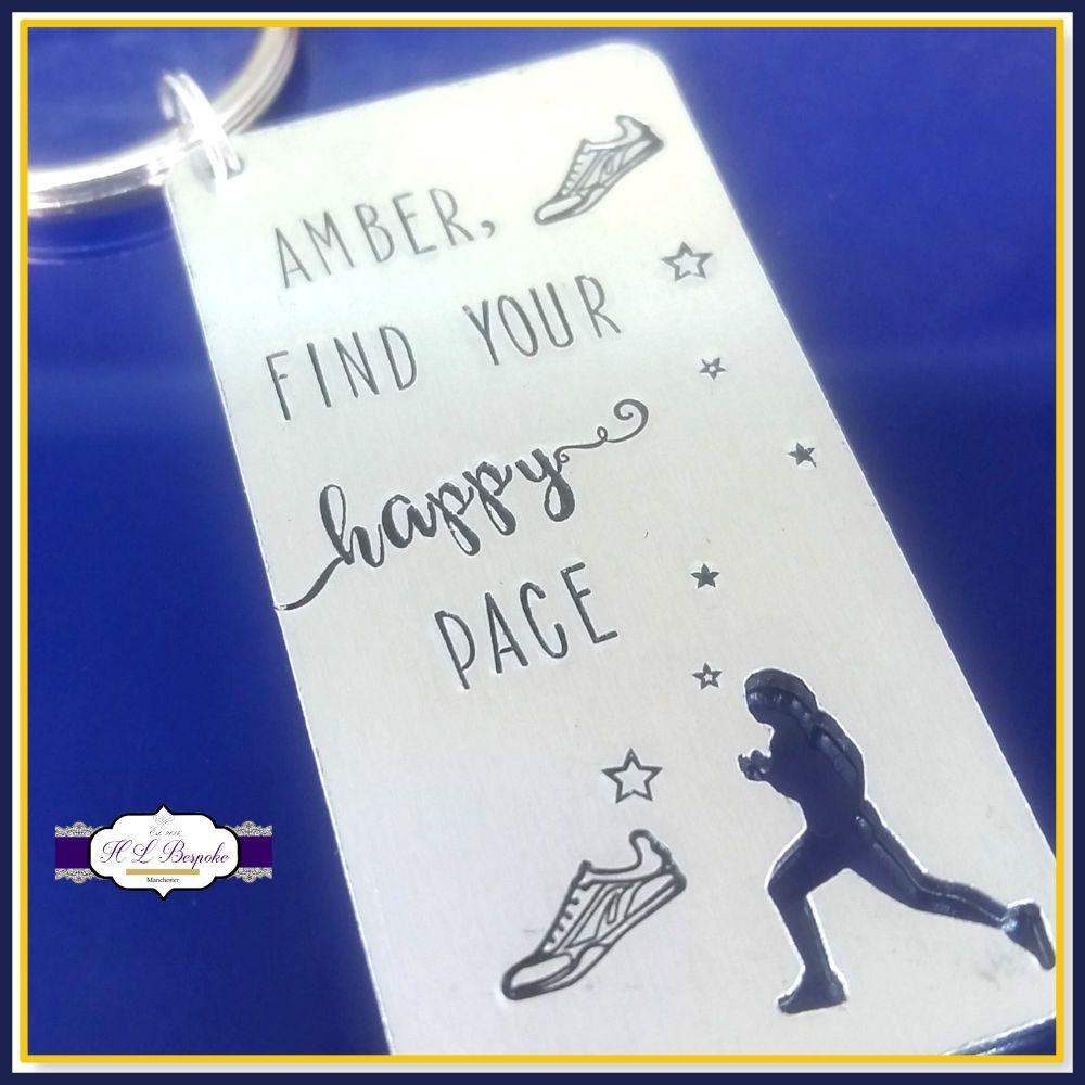 Personalised Runner Keyring - Find You Happy Pace - Custom Marathon Running