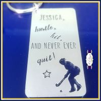 Personalised Hockey Player Keyring - Hockey Gift - Hustle Hit And Never Ever Quit - Field Hockey Gift - Hockey For Men - Hockey For Women