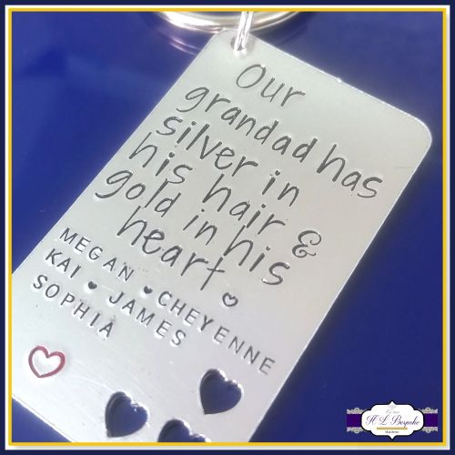 Personalised Grandad Gift - Grandad Keyring - Silver In His Hair Gold In Hi