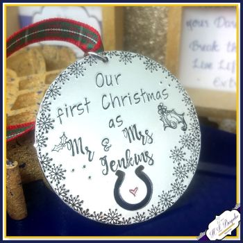 Personalised First Christmas Mr Mrs Decoration horseshoe - Our 1st Christmas Married Gift - Married First Christmas Wedding Decoration