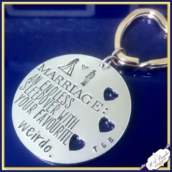 Personalised Anniversary Keyring - Funny Anniversary Gift - Marriage Endless Sleep Over With Favourite Weirdo - Favourite Weirdo Keychain