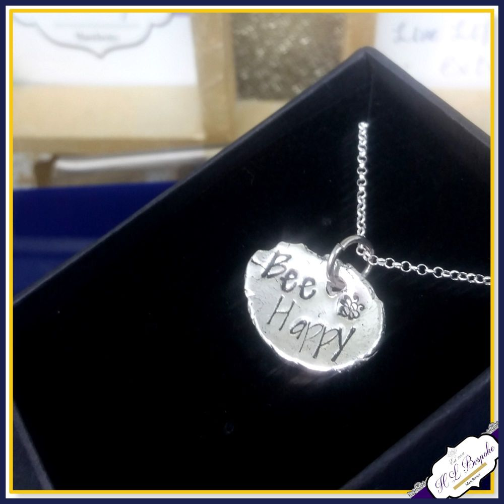 Sterling Silver Bee Happy Pendant - Bee Necklace - Bee Pendant - Bee Gift -