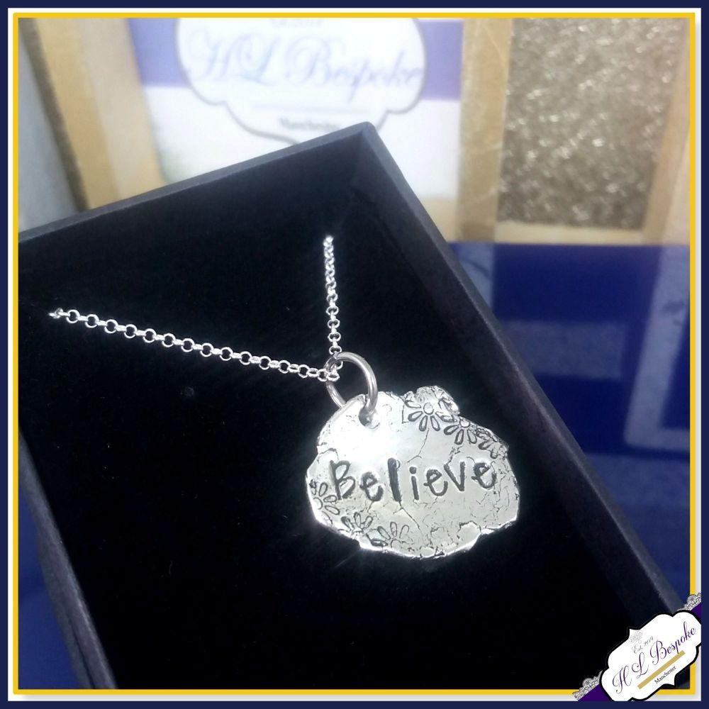 Sterling Silver Believe Pendant - Believe Necklace - Believe Jewellery - Be