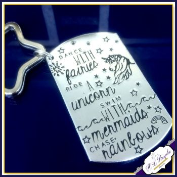 Dance With Fairies Gift - Ride A Unicorn - Swim With Mermaid Keyring - Chase Rainbows Keychain - Mythical Gift - Magical Keyring - Dream