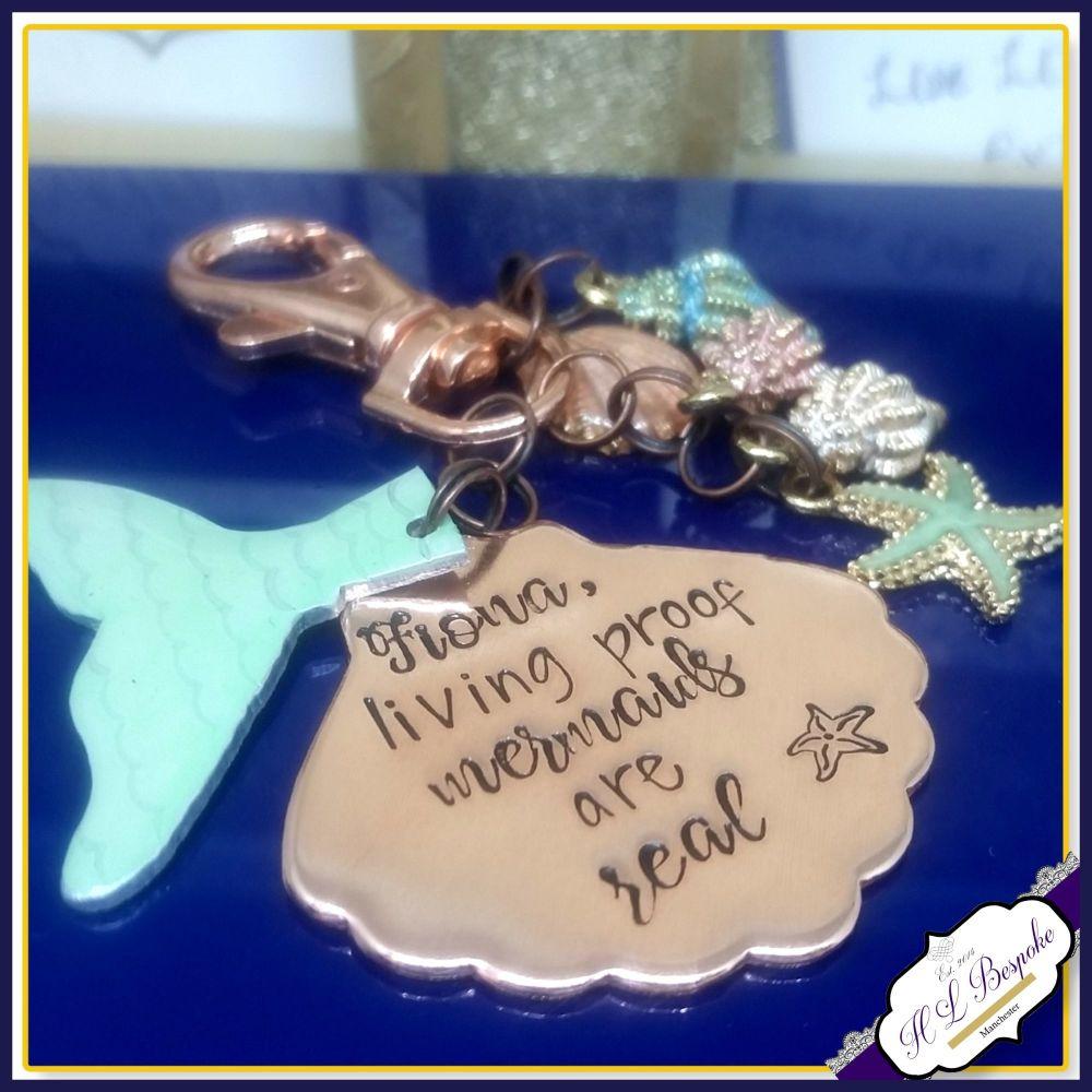 Copper Mermaid Bag Charm - Sea Themed Mermaid Tail Keyring - Mermaids Do Ex