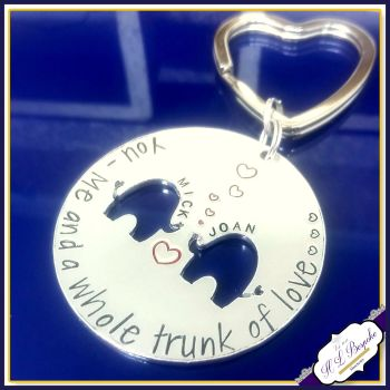 Personalised Valentine's Gift - Valentine's Keyring - A Whole Trunk Of Love - Elephant Keychain - Couple Gifts - Anniversary Gift - Keychain