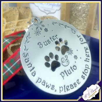 Santa Paws Christmas Decoration - Dog Christmas Decoration - Christmas Puppy Gift - Please Stop Here - Christmas Gift For Pets - Pet Tree