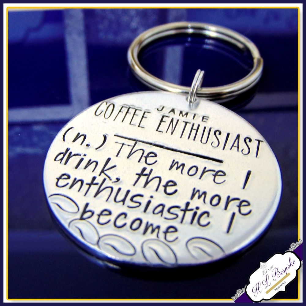 Coffee Enthusiast Keyring - Coffee Keyring Gift - Gift For Coffee Lovers -