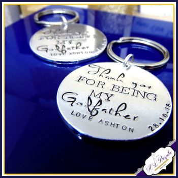 Personalised Godfather Gift - Godfather Keyring - Godfather Keychain - Thank You For Being My Godfather - Godfather Keychain - Chunky Round