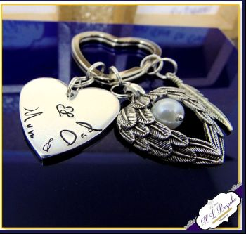 Personalised Memorial Keychain - Bereavement Keyring - Bereavement Gift - In Memory Of Gift - In Memory Of Keyring - Angel Wing Keyring