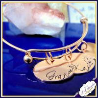 Personalised Rose Gold Bangle Or Gold Bangle - YOU CHOOSE WORDING - Mothers Day - Rose Gold Jewellery - Personalised Bracelet - New Mum Gift