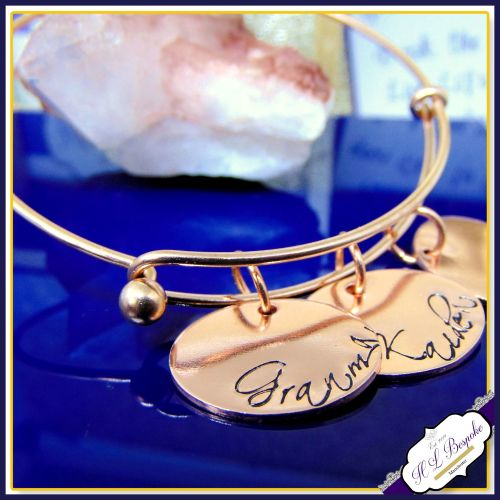 Personalised Rose Gold Bangle Or Gold Bangle - YOU CHOOSE WORDING - Mothers