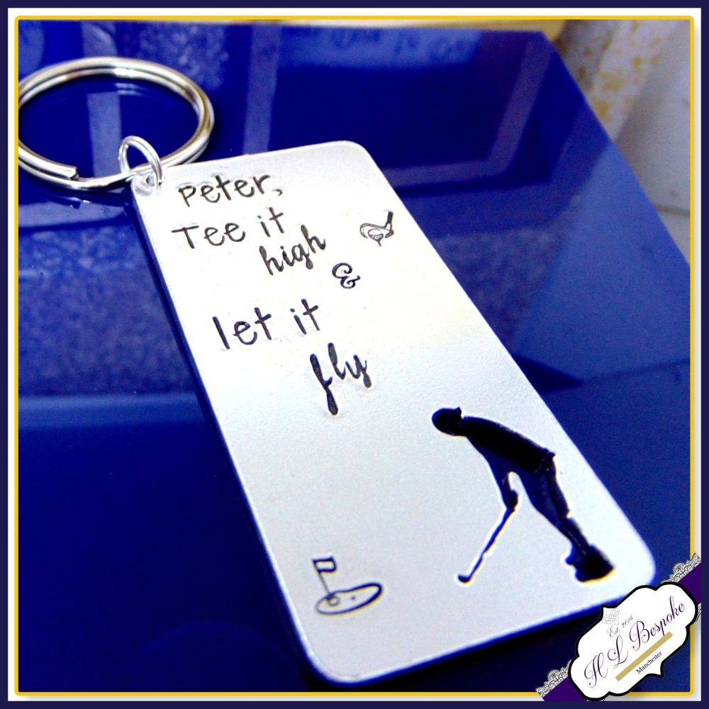 Personalised Golfer Keyring - Tee It High and Let It Fly Gift - Custom Gol
