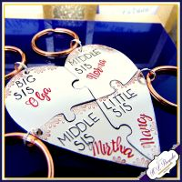 Four Sibling Gift - Big Middle Middle Little Sister Gift - Keyrings For 4 Sisters - Puzzle Keyrings - 3 Sisters Gift - Brother Keychains