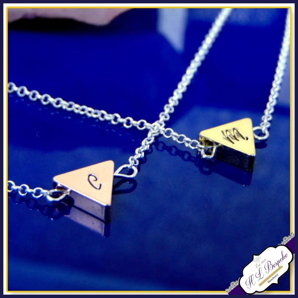 Personalised Triangle Necklace - Thick Geometric Pendant - Minimal Necklace
