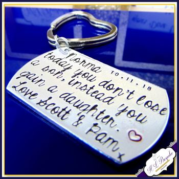 Personalised Wedding Gift Keyring - Today You Gain A Son - Today You Gain A Daughter - Custom Wedding Keyring - Oblong Dog Tag Wedding Gift