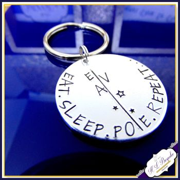 Personalised Polercise Gift - Pole Dancer Keyring - Eat Sleep Pole Repeat Keyring - Polercise Keychain - Pole Dancer Gift - Pole Repeat Gift