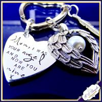Personalised Memorial Keychain - In Memory Of - I Used To Be His Angel - Now You Are Mine - Loss Gift -  Angel Wings - Memorial Keepsake