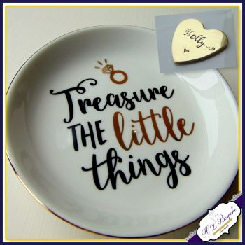 Personalised Ring Dish - Quote Trinket Dish - Modern Trinket Storage - Treasure The Little Things - White Gold Trinket dish - Jewellery Dish