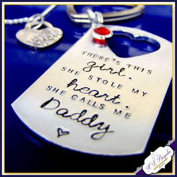 Daddy Daughter Gift - There Is This Girl Who Stole My Heart Gift - Daddy Keyring - Daughter Necklace - She Calls Me Daddy Gift- Dad Daughter