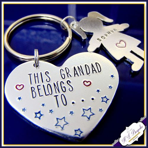 Grandad Keyring - Fathers Day Gift - Grandad Belongs To - Nanna Keyring -