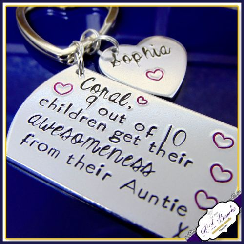 Personalised Auntie Gift - Aunty Keyring - 9 Out Of 10 Children - Awesome A d46f650b26b9