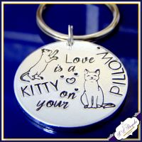 Cat Lover Gift - Keyring For Cat Lover - Love Is A Kitty On Your Pillow - Crazy Cat Lady - Pet Keyring - Pet Lover Gift - Gift For Pet Owner