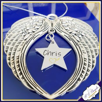 Personalised Christmas Tree Memorial Decoration - Christmas Angel Wings - In Memory Of Christmas - Memorial Christmas Tree Decor - Star