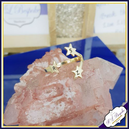 Personalised Star Midi Ring - One Size - Brass Star Ring - One Size Midi Ri