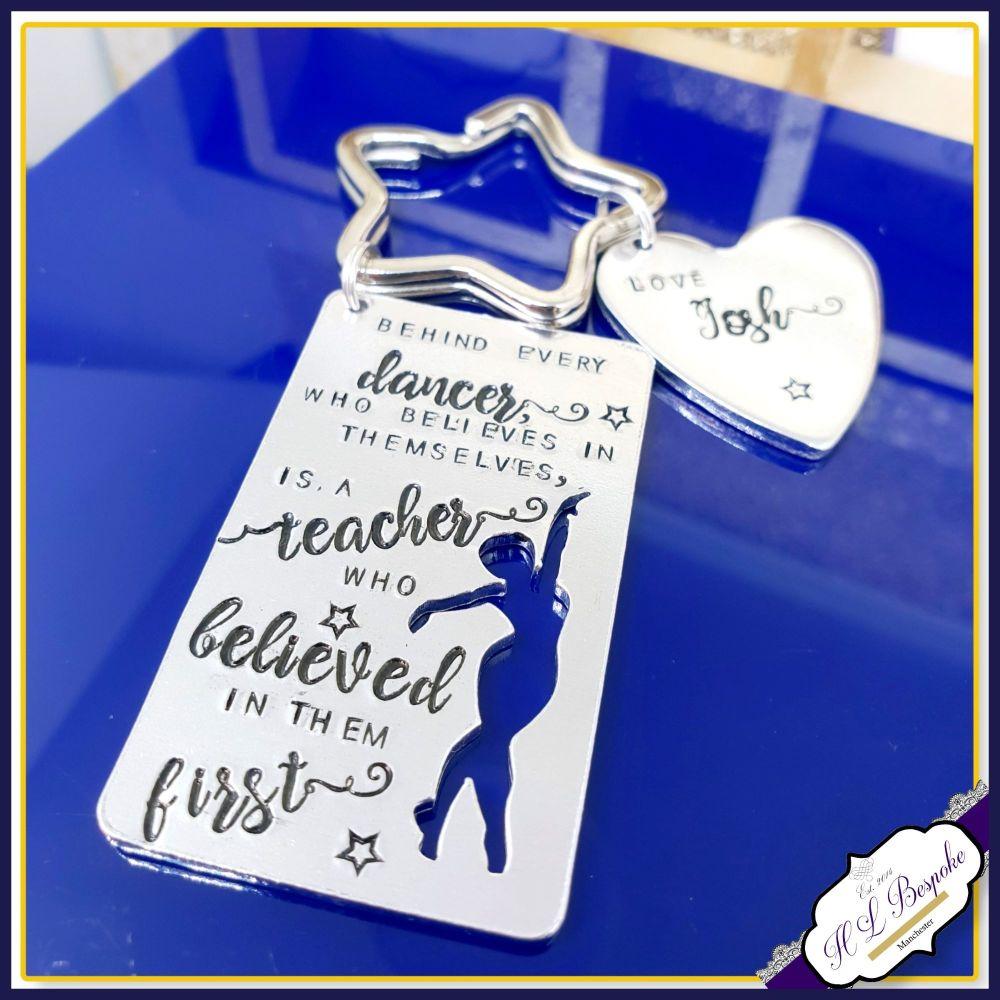 Personalised Dance Teacher Keyring - Behind Every Dancer Gift - Dance Teac