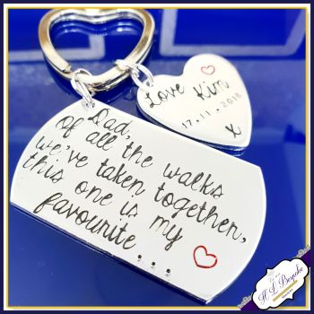 Of All The Walks We Have Taken Keyring - Father Of The Bride Gift - Personalised Wedding Keyring With Date and Name - Personalised Wedding Gifts
