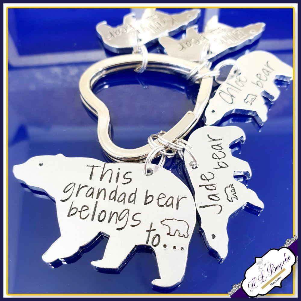 Personalised Grandad Keyring -  Grandad Bear Gift - Daddy Bear Keyring - Da